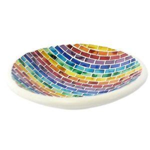 Rainbow Mosaic Candle Bowl