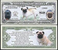 Lot of 25 BILLS - Pug Million Dollar Dog Bill Puppy & Adult Pics, Facts on Back