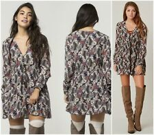FREE  PEOPLE * STEALING FIRE * BOHO  PEASANT MINI  DRESS  Sz XS  NWT  $ 128