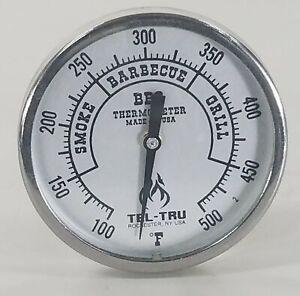 """Tel-Tru BQ225 BBQ Grill & Smoker Thermometer 2"""" Dial 2.5"""" Stem 100-500 Zones"""