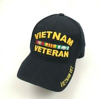 Vietnam Veteran Hat Cap Black Strapback Ventilated Adjustable Embroidered Yellow