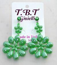 NEW Orecchini Fiori punto luce Grandi pendenti cristalli,da Donna verde