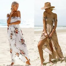Mode Damen Boho Sommer Maxikleid Sommerkleid PartyKleid Abendkleid Strandkleid