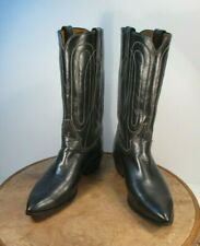 Justin Boots White Label Black Leather Boots Size 8 B style # L4001