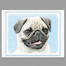 6 Pug Dog Blank Art Note Greeting Cards