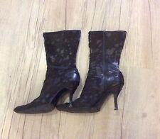 CAPOLLINI Brown Ponyskin Mid Calf Boots. U.K. 5. EU 38