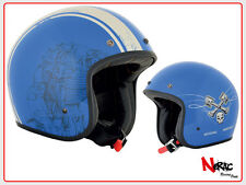 AFX HELMETS FX-76 RACEWAY BLUE/BONE CASCO MOTO CAFE RACER CUSTOM VINTAGE CHOPPER
