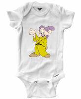 Infant Gerber Onesies Bodysuit Clothes Baby Gift Print Dopey 7 Dwarfs Snow White