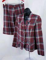 Scarlett Women's Skirt Suit Plaid Vtg 2 Piece Size 9/10 Red