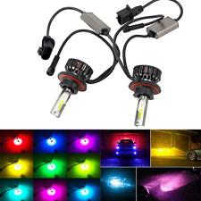 H13 9008 LED Headlight RGB Kit Bulb 6000LM 72W High Low Beam 6000K Colorful 2Pcs