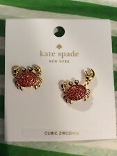 NEW Kate Spade Shore Thing Red Crab Cubic Zirconia Statement Stud Earrings $58