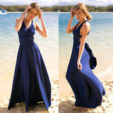 Women's Convertible Multi Way Wrap Maxi Robe Bridesmaid Wedding Gown Long Dress
