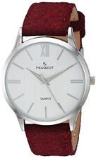 Peugeot 'Slim Case Burgandy' Quartz Metal and Leather Casual Watch, Color:Purple