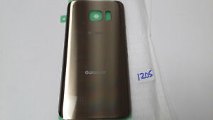 Galaxy S7 Back Battery Cover Gold Adhesive Glass Verizon (Lot of 5)