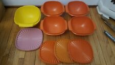 9 total pieces Vintage Tupperware Servalier Bowl Set Harvest Yellow & Orange
