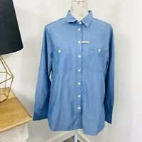 RM Williams Womens Lady Grazier Shirt Blue Long Sleeve Button Down Size 14 NWT