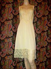Vintage Vanity Fair Yellow Silky Nylon Lacy Slip Nighty Lingerie 32