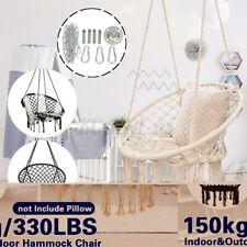 330lbs Hammock Chair Swing Seat Hanging Round Cotton Rope Indoor Outdoor ^