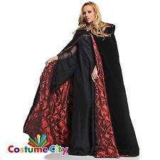 Deluxe Gotico Con Cappuccio Fodera in Velluto Rosso Mantello Halloween Fancy Dress accessorio