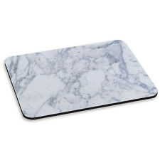 White & Grey Classic Marble Effect Pattern Stone PC Computer Mouse Mat Pad