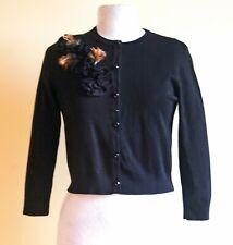 Ronni Nicole crew neck black knit cardigan+ ¾ sleeves& feather & rosette trim 12