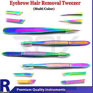 Professional Eyebrow Tweezers Set Multi Color Women Beauty Facial 4Pcs