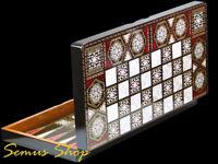 Wunderschöne Intarsien Look Backgammon TAVLA XXL