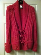 CHANEL NEW 09A HOT PINK MOHAIR TWEED WOOL JACKET GOLD CC BUCKLE CLOSURES  FR40