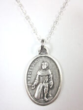 """St Peregrine Medal Italy Pendant Necklace  20"""" Chain Gift Box & Prayer Card"""