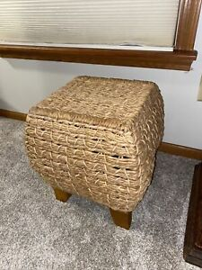Vintage Woven Wicker Footstool Ottoman 16.5 Inches Tall x 16 Inches Wide