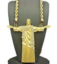 "MENS JUMBO LARGE JESUS CHRIST GOD REDEEMER  ROPE 30"" CHAIN LIL BOOSIE NECKLACE"