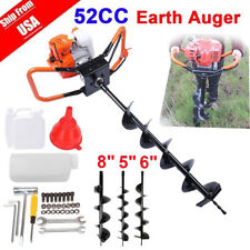52cc 2.5HP Auger Post Hole Digger Gas Powered Auger Fence Ground Drill+3 Bits US