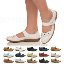 WOMENS LADIES FLAT LEATHER GRIP SOLE COMFORT WALKING MARY JANE WORK SHOES SIZE