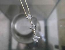 "3 Stone 3/4 CTW Drop Princess Diamond Pendant w 18"" Box Chain-Free Insured Ship"
