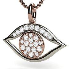 Diamond 0.30ct White & Rose Gold 18K Evil Eye Pendant 14K Gold Chain included