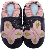 carozoo butterfly 12-18m soft sole leather baby shoes
