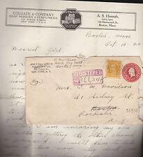 Colgate & Company Letterhead Envelope 1920 Registered Cover Stamps