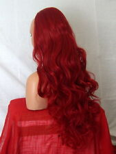 RED Clip In Hair Piece Curly Long 3/4 wig Red Real Natural looking X15