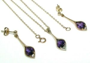 Ladies womens 9ct yellow gold clear & amethyst stone pendant, chain, earring set