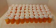 50 Empty Amber RX Pill Bottles Storage Crafts Fishing Garage Screw Top Lids