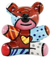 ROMERO BRITTO 'Teddy Bear', 2010 Stackable Salt & Pepper Shakers Ceramic **NEW**