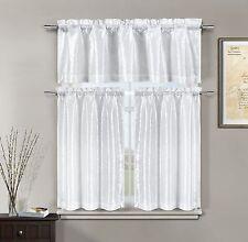 Minka Faux Silk White Kitchen Window Curtain 3 piece Set Valance & Tiers