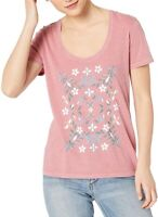 Lucky Brand Womens Top Light Pink Size XS Knit Scoop Neck Mosaic Tee $39- 033