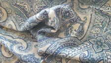 SHADES OF BLUE PAISLEY PRINTED LINEN DRAPERY UPHOLSTERY FABRIC