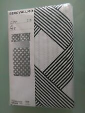 IKEA BERGVALLMO Single Size Duvet cover & 2 pillowcases - white/black -