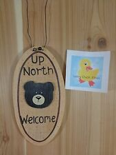 """UP NORTH WELCOME Sign Wall Plaque BLACK BEAR Face Wood Wire 10"""" x 5"""" Cabin Decor"""