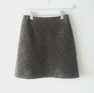Bally Brown Wool Knitted Quilted A-line Mini Skirt size 8 Office