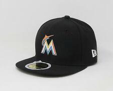 New Era 59Fifty Cap Big Kids Size Florida Marlins Fitted Black 5950 Hat