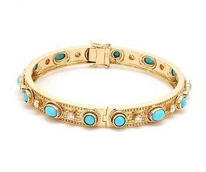 5.50 TCW Real HI/SI Diamond Bracelet 18K Yellow Gold Turquoise Gemstone Jewelry