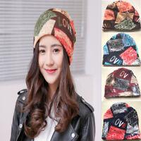 Women Fashion Winter Warm Printed Hat Beanie Scarf Collar Turban Head Wrap Cap N